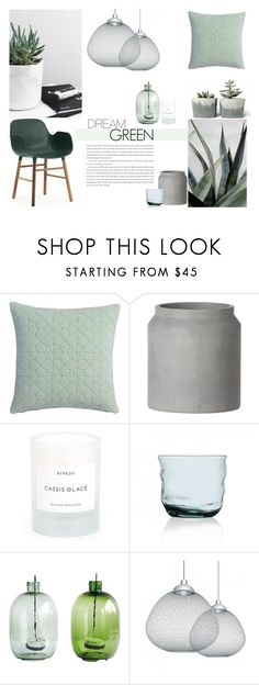 """Dream Green"" by nmkratz ❤ liked on Polyvore featuring interior, interiors, interior design, home, home decor, interior decorating, CB2, ferm LIVING, Byredo and Moooi"