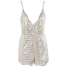 Beige Sequin Playsuit Romper The Styled Collection ($77) ❤ liked on Polyvore featuring jumpsuits, rompers, playsuits, dresses, outfits, romper, sleeveless rompers, sexy white rompers, white rompers and white romper