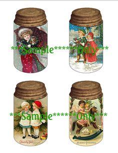 Vintage Christmas Postcard Collage Mason Jar Hang or Gift Tag Digital Image Sheet for Christmas Crafts via Etsy