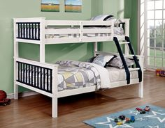 Furniture of America Twin over Full Corrin Bunk Bed in Blue Finish Twin Full Bunk Bed, Space Saving Beds, Upholstered Bed Frame, Warm And Cozy, Kids Bedroom, Mattress, America, Furniture, Home Decor