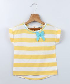 Yellow Stripe Bow Tee - Infant & Toddler