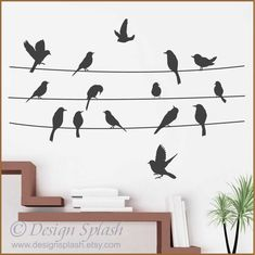 Birds on a Line Vinyl Wall Decal Set A-112 van DesignSPLASH op Etsy