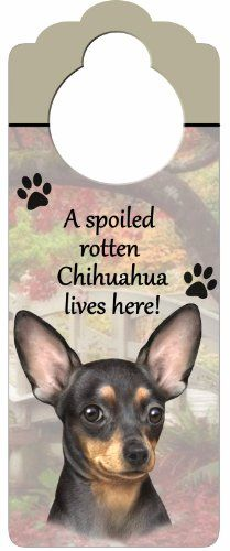 """Chihuahua, Black Wood Sign """"A Spoiled Rotten Chihuahua, Black Lives Here""""with Artistic Photograph Measuring 10 by 4 Inches Can Be Hung On Doorknobs Or Anywhere In Home *** You can get more details by clicking on the image."""