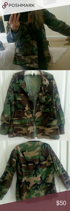 """Authentic 90's Army Field Jacket w 81st RSC Patch! In EUC condition. This field jacket was issued for the reservist in the 81st Wild Cat unit for the Southeast United States and Puerto Rico. The patches above the top pockets have been removed. Measuring 22"""" armpit to armpit and 28"""" length. The sleeves are 23"""" with the cuffs having 3 buttons to choose from. Just a great all around jacket that supports our military and making your own fashion statement at the same time. Vintage Jackets & Coats"""