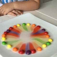 """Make a circle with skittles on a plate, add warm water, and enjoy the rainbow""😱😍 by @earlylearningtoys Follow us for more art👉🏽 @arts.hub 🌹 - Like, comment and tag a friend 😊…"