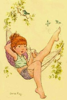 Sarah Kay: Girl in her hammock Illustrations, Illustration Art, Mary May, Image Deco, Les Themes, Vintage Drawing, Picture Postcards, Holly Hobbie, Creative Pictures