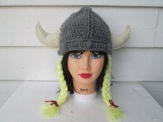 Gray Womens viking hat with braids Beanie Wild Man by Ritaknitsall
