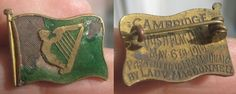 IRISH FLAG enameled pin badge -suffering from enamel loss-and bearing a fascinating inscription ''CAMBRIDGE IRISH FLAG DAY MAY 6TH 1916 PRESENTED TO L.P.C. MacQUAID BY LADY MacDONNELL'' Army Badges, Pin Badges, Easter Rising, Old Irish, Cambridge, Colonial, Ireland, Police, Dior