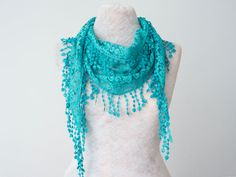 Lace Scarf Teal Green Scarf Lace Fringe Scarf Triangle by Oxoo, $15.00