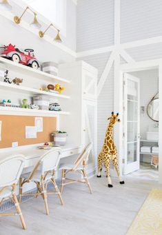 Sharing a New Traditional Dream Home today! A light airy foundation layered with a mix of clean modern lines and more ornate traditional statement pieces. Take a look! Playroom Design, Playroom Decor, Playroom Ideas, Modern Playroom, Kid Playroom, Kid Spaces, Living Spaces, Living Room, Home Renovation