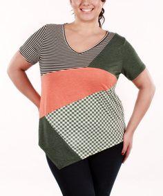 Look at this #zulilyfind! Coral & Green Patchwork V-Neck Top - Plus by Jasmine #zulilyfinds