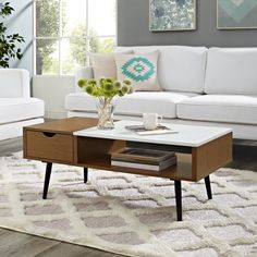 Our Best Living Room Furniture Deals - Mid-Century Modern Wood and Faux Marble Coffee (Brown) Table (Wood Finish – Pecan) - Apartment Furniture, Living Room Furniture, Furniture Deals, Apartment Ideas, Living Rooms, Faux Marble Coffee Table, Laminate Table Top, Wood Laminate, Mid Century Coffee Table