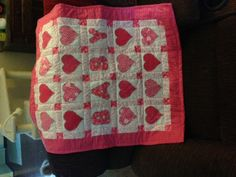 pink and red baby hearts blanket