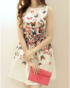 Butterfly Print Party Dresses Summer Dress Free Shipping
