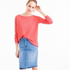 Garment-dyed linen cable crewneck sweater : Pullovers | J.Crew
