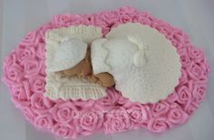 Bed of Roses baby shower cake topper bonnet door DinasCakeToppers, $30,00