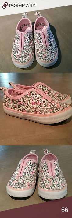 Toddler Ked style shoes Cute Koala Kids slip on shoes for toddlers! Floral printed and no laces on these shoes.In excellent condition and only worn once. Size 5. Koala Kids Shoes Sneakers https://presentbaby.com