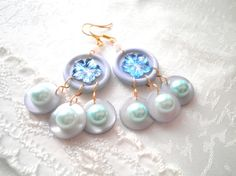 Light Blue Pearl Blue Button Earrings. Reused by SaveTheNature, $15.00