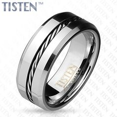 8 mm Single Wire Inlay with Beveled Edges Tisten Ring