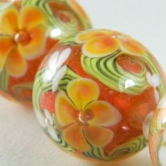 GMD Lampwork Beads MARMALADE BLOSSOMS 3 encased floral rounds artisan usa SRA #Jewelry #Beads #Deal