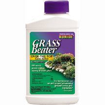 Grass Beater- Kills weedy grasses without injuring desirable plants. This systemic post-emergent herbicide can be sprayed over flower beds, trees, shrubs, groundcovers and vegetable plants to eliminate quackgrass and other weedy annual and perennial grasses. Stops growth of weed grasses within 2 days. follow label instructions for mixing rates.