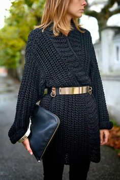 Belted chunky knit