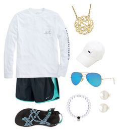 """It's 70 degrees!?☀️"" by sjkish on Polyvore featuring NIKE, Vineyard Vines, Ray-Ban, Chaco, Everest and Tiffany & Co."