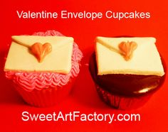 Valentines Cupcakes with fondant envelope from SweetArtFactory.com