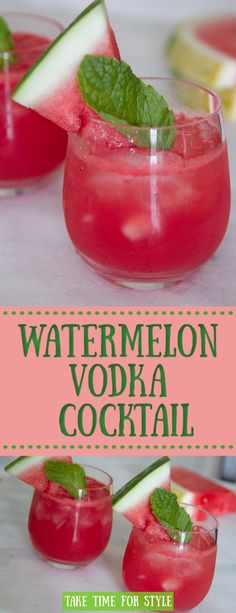 This Watermelon vodka cocktail is sure to cool you off this summer! It's fruity, sweet, and surprisingly light. It is a must for your next BBQ.