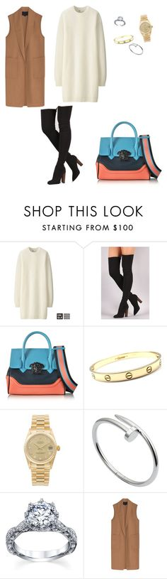 """""""Untitled #40"""" by fashionismynamebitch ❤ liked on Polyvore featuring Uniqlo, Versace, Cartier, Rolex and Alexander Wang"""