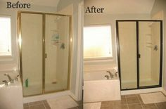 ! Change out your builder grade brass shower trim using Rustoleum's Oil Rubbed Bronze spray paint ... by Bushyp75  I would change out the faucets etc also to oil rubbed bronze - would give an upscale feel