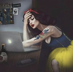 Literally me looking at the to-do list that needs to be done immediately but I do not start doing anything because I'm playing Fallout 4 Ariel Disney, Cute Disney, Disney Art, Princess Disney, Princess Adventure, Equestria Girls, Powerpuff Girls, Punk Rock Princess, Snow White