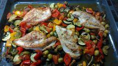 Lecker Ofengemüse mit angebratener Hühnerbrust