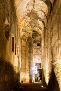 A member of the team restoring and conserving the interior of the Domus Aurea works in the Great Cryptoporticus of the palace's east wing, a massive space with frescoed walls and ceiling vaults some  36 feet high.