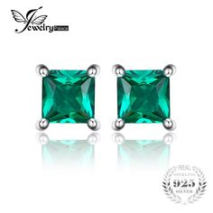 22fcd38bf Jewelrypalace Square 0.6ct Created Emerald 925 Sterling Silver Stud Earrings  Fashion Jewelry for Women-in Earrings from Jewelry & Accessories on ...