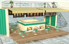 Converted shipping container is the new retail rave Container Cafe, Container Design, Converted Shipping Containers, Pop Up Cafe, Shops, Jeddah, Cas, Pergola, Ice Cream