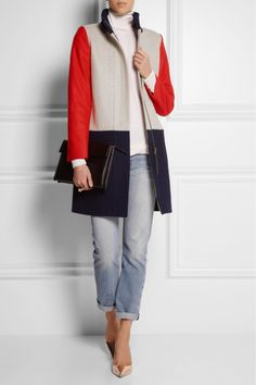 J.CREW Color-block wool-blend coat $398 J.Crew's tri-tone coat is cut for a loose boxy fit and is fully lined in satin. Slip this wool-blend coverup over a simple sweater and jeans.  Shown here with: Stella McCartney top, Chloé ring, The Row jeans, Sophia Webster shoes, Marni clutch.