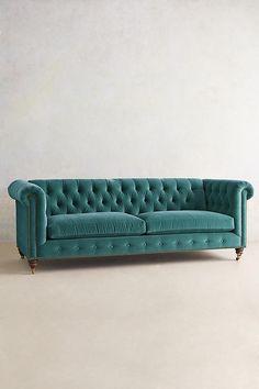 Slide View: 1: Velvet Lyre Chesterfield Sofa, Hickory