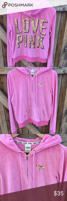 Pink Sequined Love Pink Velour Zip Up Hoodie Pink Size Medium Velour Zip Up Hoodie Good Used Condition PINK Victoria's Secret Tops Sweatshirts & Hoodies