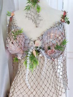 Items similar to Mermaid Bra Custom Order with Natural Decor Ocean Shells, Seaweed, Pearls, Fish Netting Belt Included on Etsy Mermaid Cosplay, Mermaid Outfit, Siren Costume, Costume Makeup, Bra Ha Ha, Mermaid Bar, Corset, Mermaid Parade, Ocean Crafts