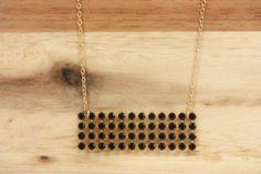 Black Crystal Panel Necklace