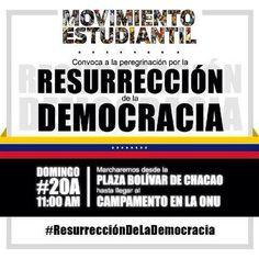 Hoy acompañemos a nuestros jóvenes!Marcha p la Resurrección de la Democracia.De Pza Bolívar d Chacao a la ONU.11am pic.twitter.com/Lj4ITAuXvU