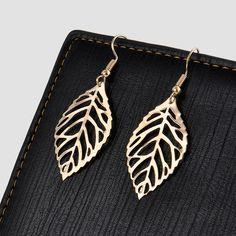 New mode creux en or feuille Dangle boucle d'oreille goutte percé boucles d'oreilles boucles d'oreilles pour les femmes Charm bijoux livraison gratuite