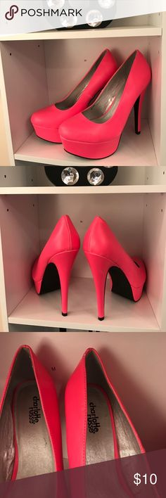 Hot pink heels! Worn once to an event! Hot pink heels! Charlotte Russe Shoes Heels