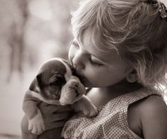 puppies and little girls - love