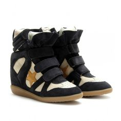Isabel Marant Bayley Sneakers Black Suede Wedge Heel