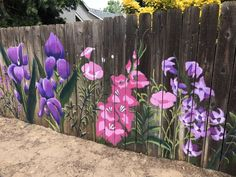 Paint large flowers on your she shed fence Garden Fence Art, Diy Fence, Backyard Fences, Fence Ideas, Mural Floral, Flower Mural, Walled Garden, Outdoor Art, Yard Art