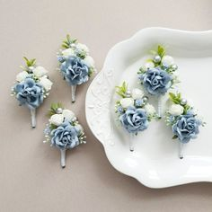 Boutonnieres, Groomsmen Boutonniere, Corsage And Boutonniere, Wedding Boutonniere, Blue Corsage, Blue Groomsmen, Corsage Wedding, Prom Corsage