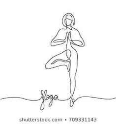 Continuous line drawing. Woman doing exercise in yoga pose. Woman Drawing, Life Drawing, Painting & Drawing, Contour Line Drawing, Working Drawing, Continuous Line Drawing, Anatomy Drawing, Feminist Art, Yoga Art