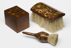 Clothes Brush, powder brush and toilette box found in a dressing table, France, marquetry, bristles, various woods 1760-70| V and A Collections